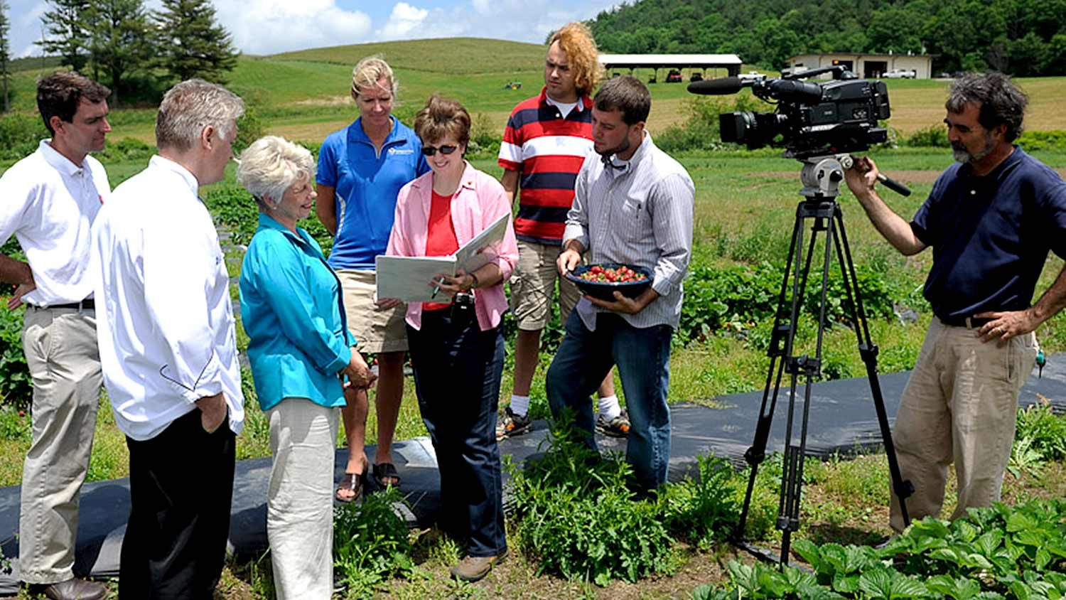 CALS Communications filming segment on strawberries for The Produce Lady video series.