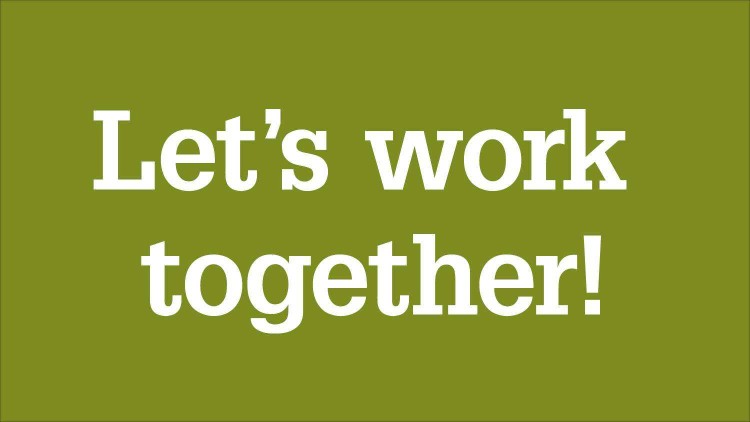 "Graphic with ""Let's work together!"" headline"