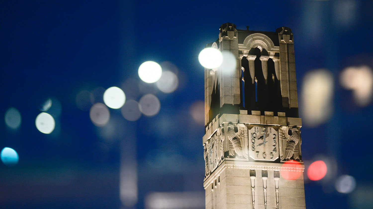 NC State belltower at night