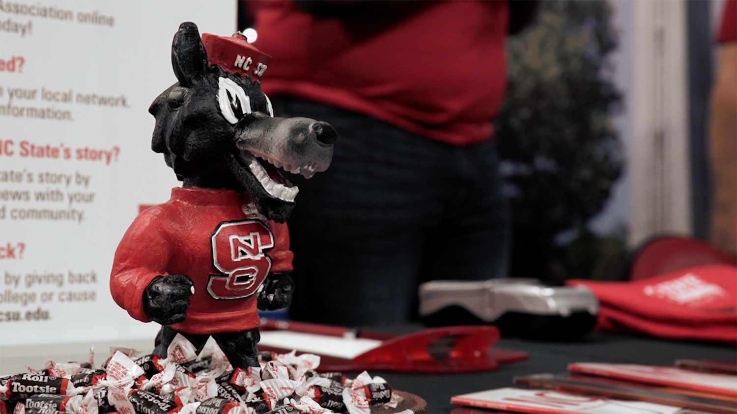 Photo of Tuffy figurine on a table at CALS Tailgate