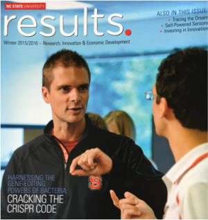 "Cover of NC State's Results Magazine, featuring ""Cracking the CRISPR Code"""