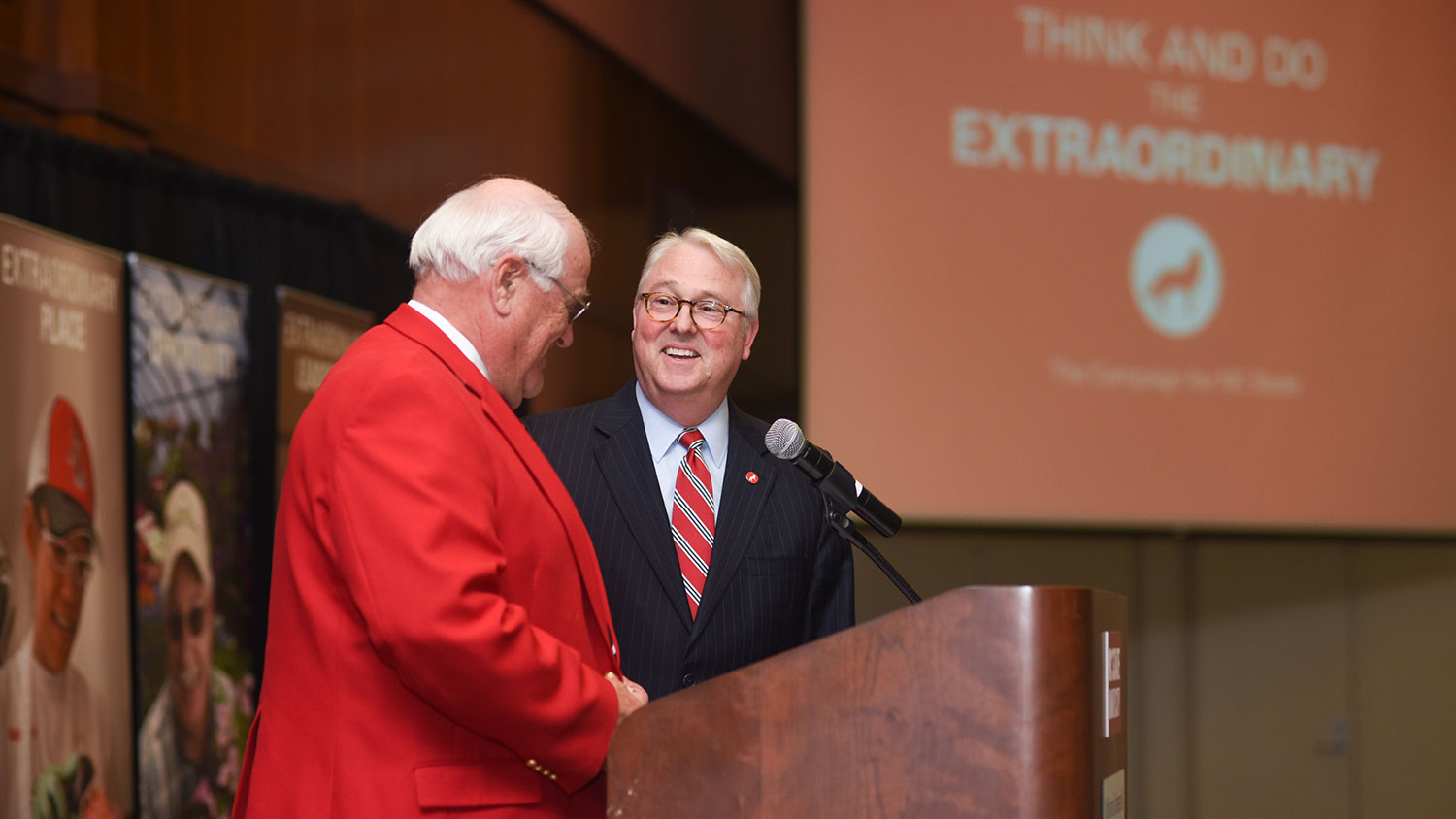 Lawrence Davenport and Chancellor Woodson at the CALS campaign kickoff event