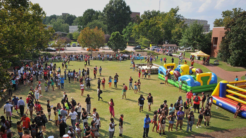 student celebration on Harris Field