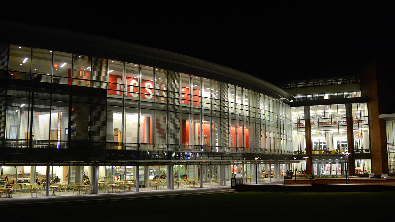 Talley Student Center at night