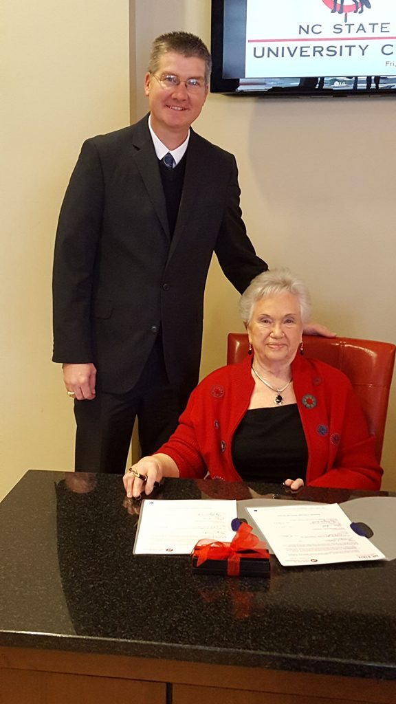 BAE Department Head Garey Fox with Mary A. Dolan at her endowment-signing ceremony