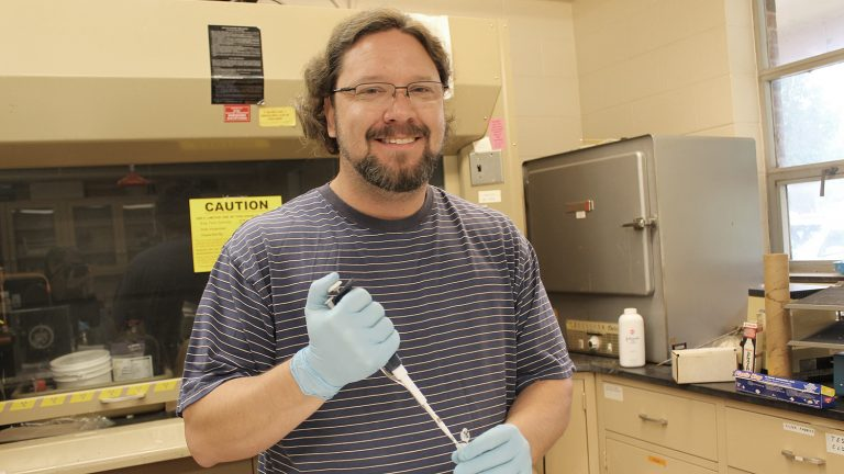 Robert Mitchell in an NC State lab.