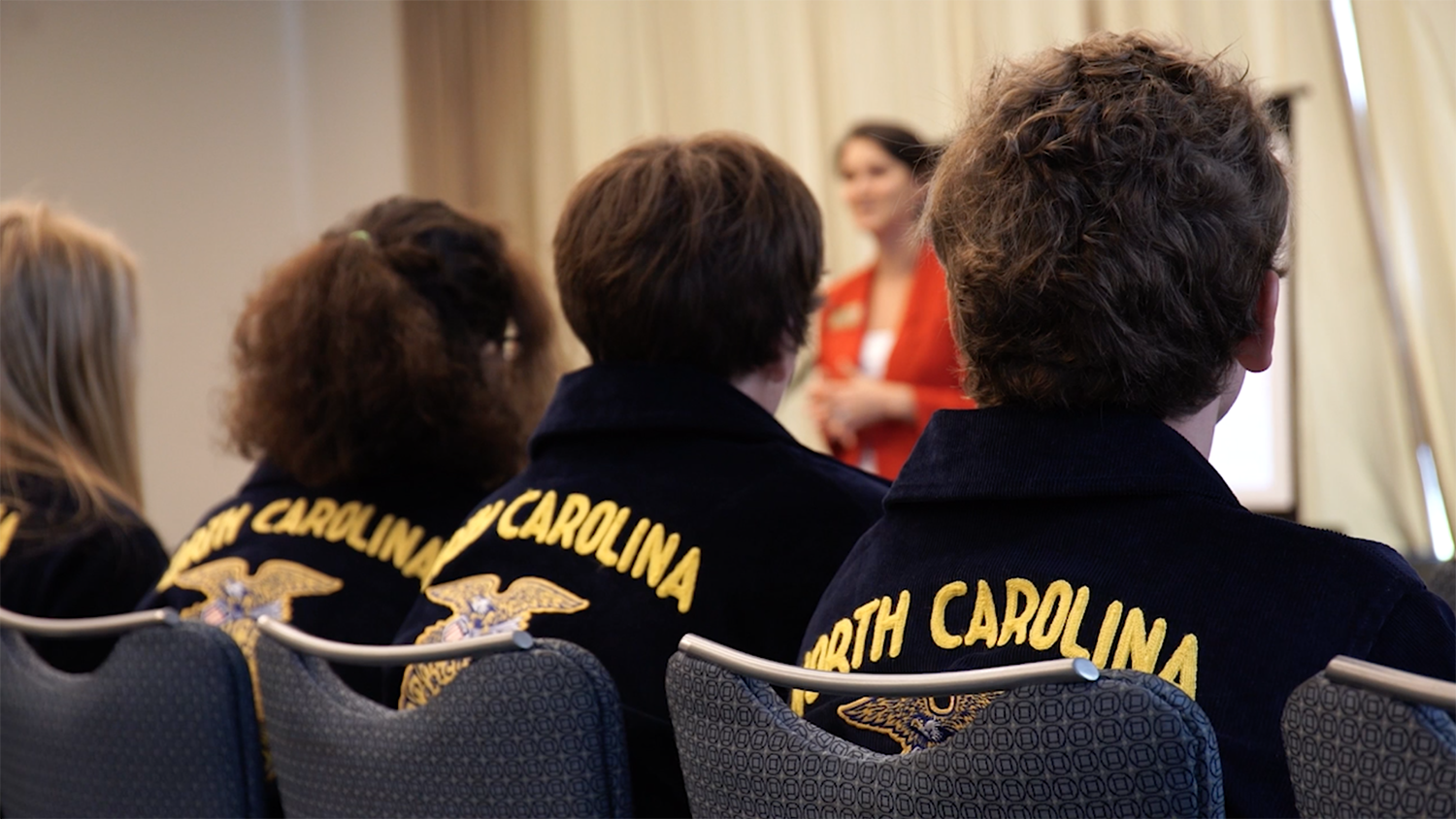 FFA students sitting during a session at annual convention in N.C.