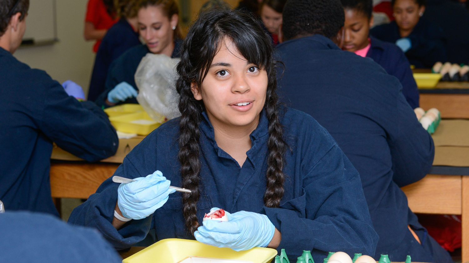 Young woman at NC State's Prestage Poultry Department's summer camp for prospective students