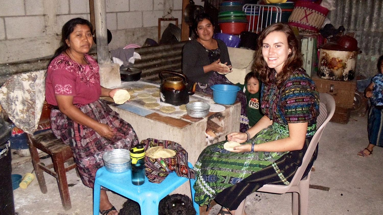 CALS student Kati Scruggs making tortillas in Guatemala