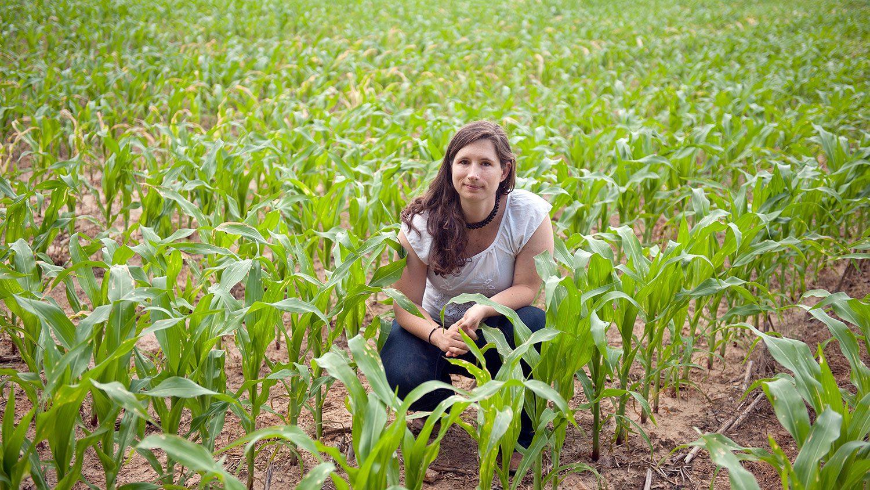 CALS grad student Angel Cruz in a cornfield
