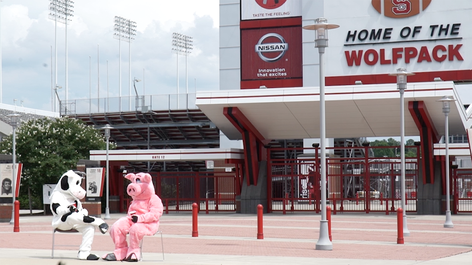 Cow and pig mascots in front of Carter-Finley Stadium