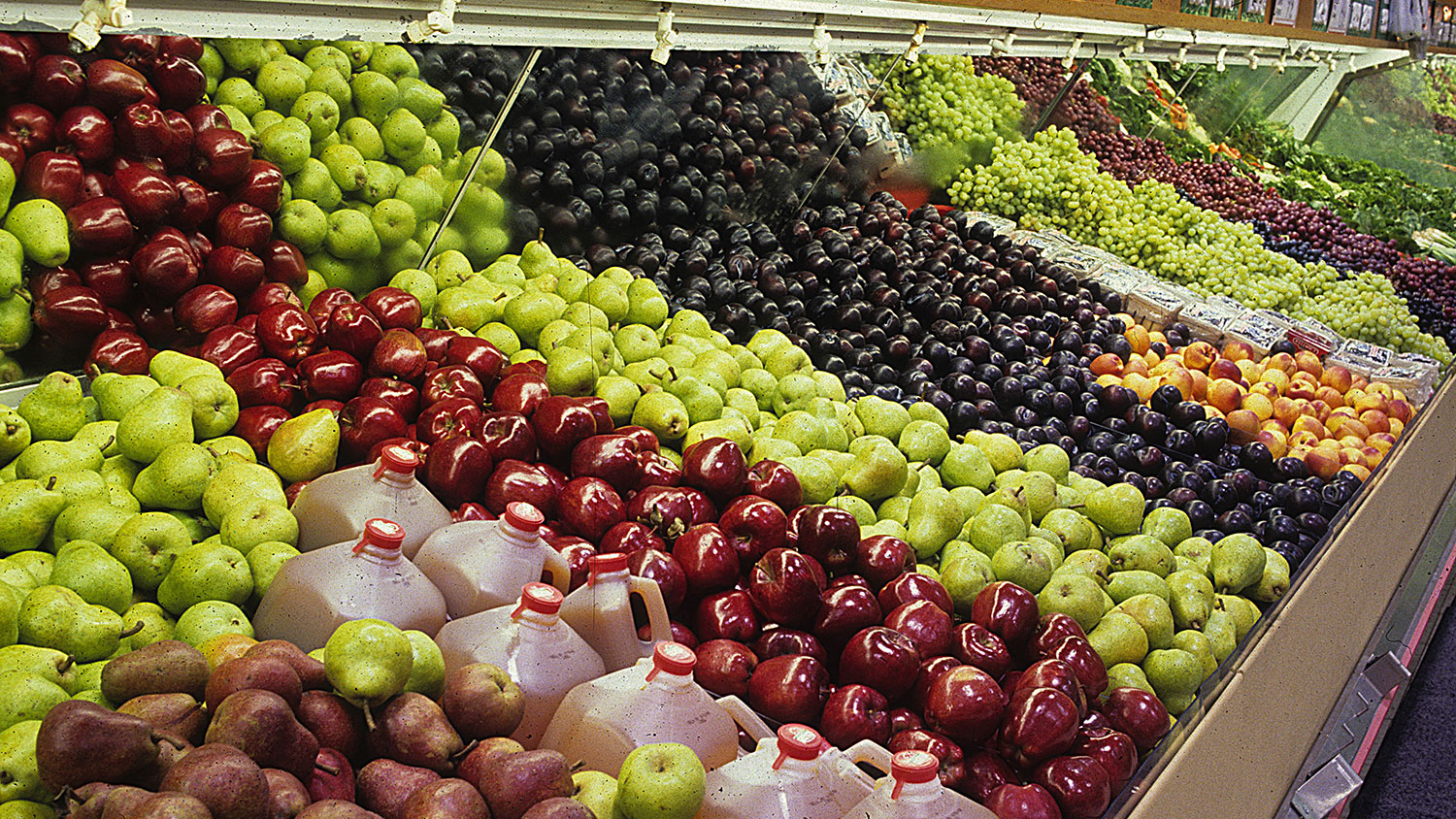 Apples, pears and other produce at a grocery store