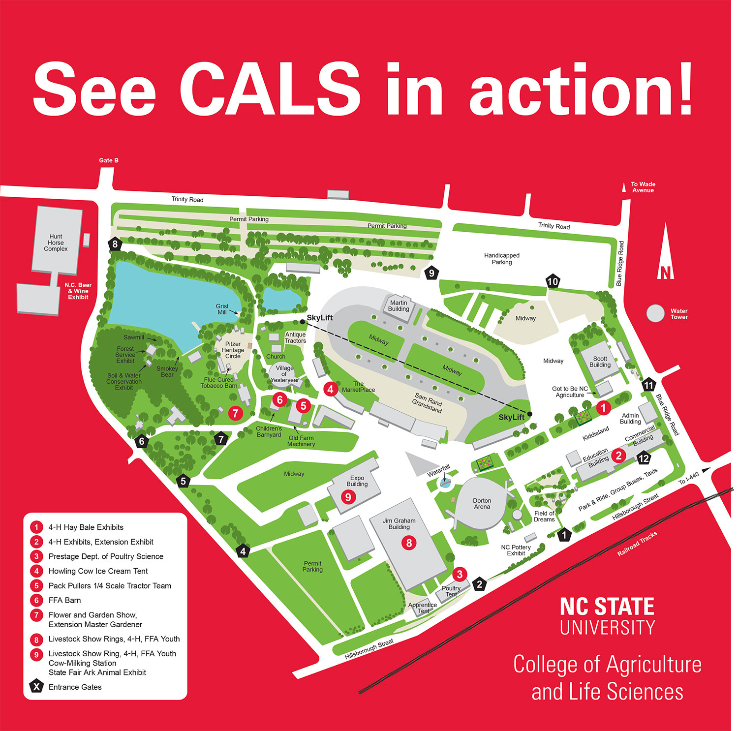 Map of where to find CALS at the N.C. State Fair