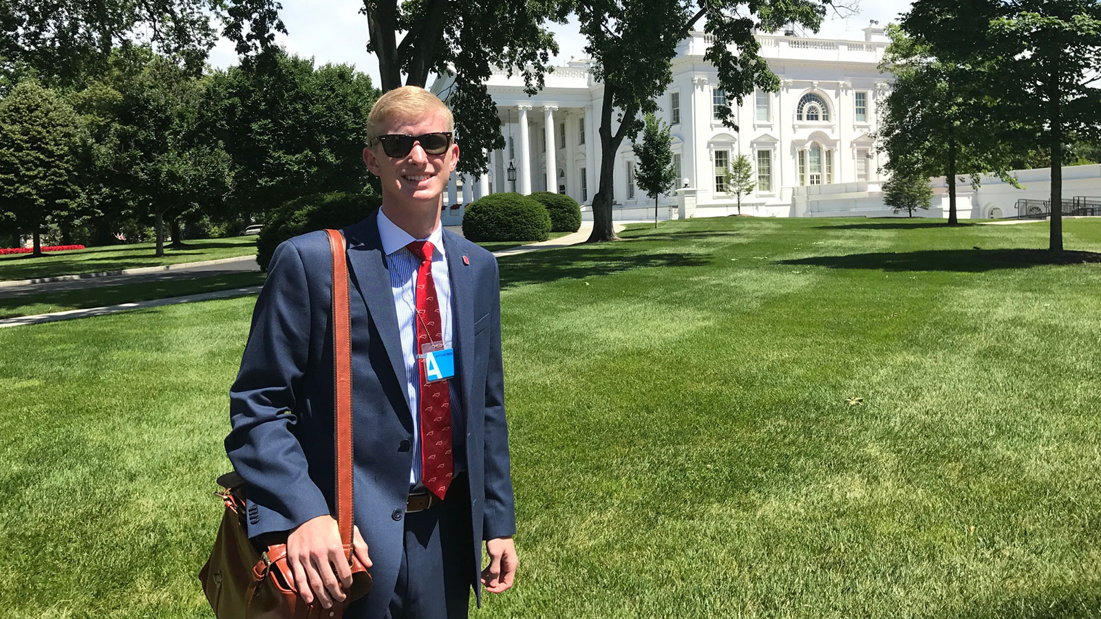 Luke Stancil on the White House lawn.