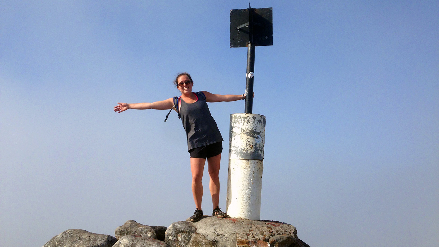 NCSU CALS Animal Science Senior Ruby Monn on top of a mountain