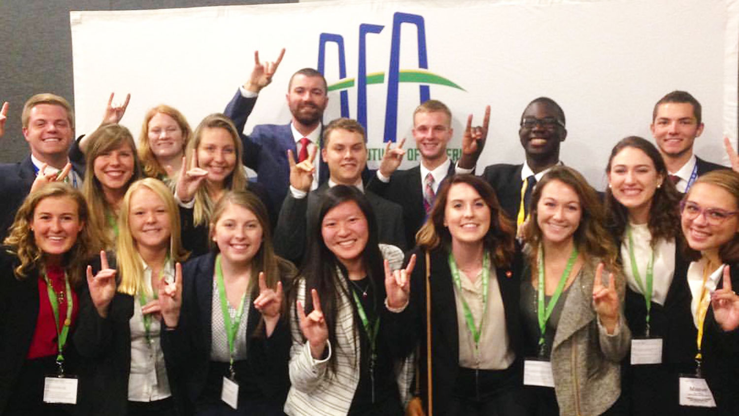 Students gathered for a group shot at the AFA Leaders Conference