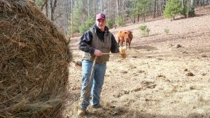 David Cox CALS Animal Science Major NCSU working on his parents' cattle farm in Sparta, NC.