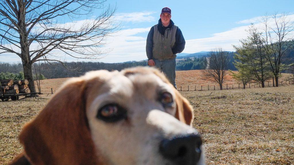 David Cox and his dog, Shiloh, in Sparta, NC.