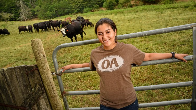 CALS student Selena Ibarra at Hickory Nut Farm in Buncombe County.