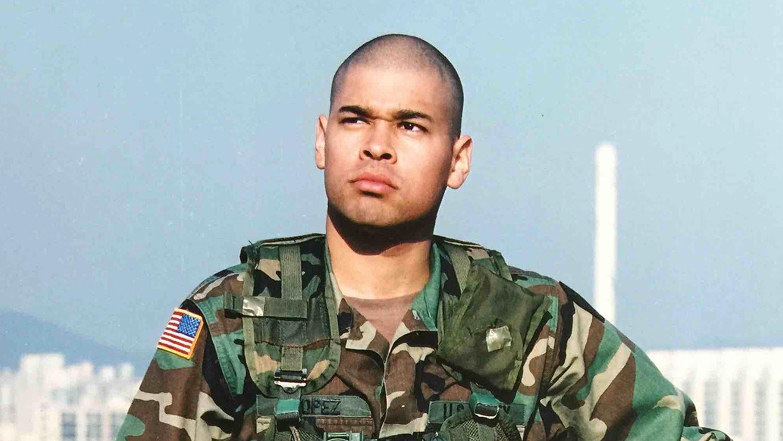 Food Science Student Mario Lopez in Army Uniform, Korea 2004