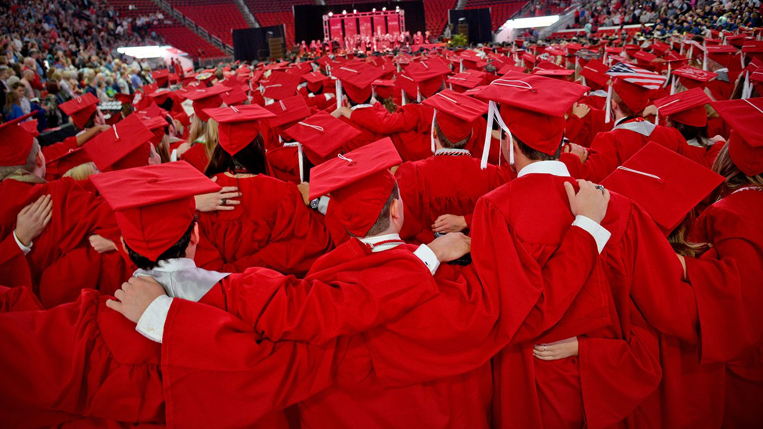 graduates at NC State commencement