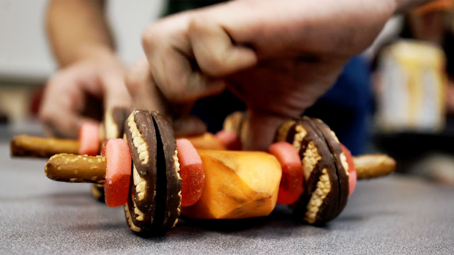 miniature car made out of food