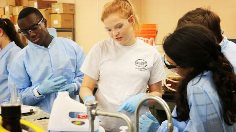 College students in a lab