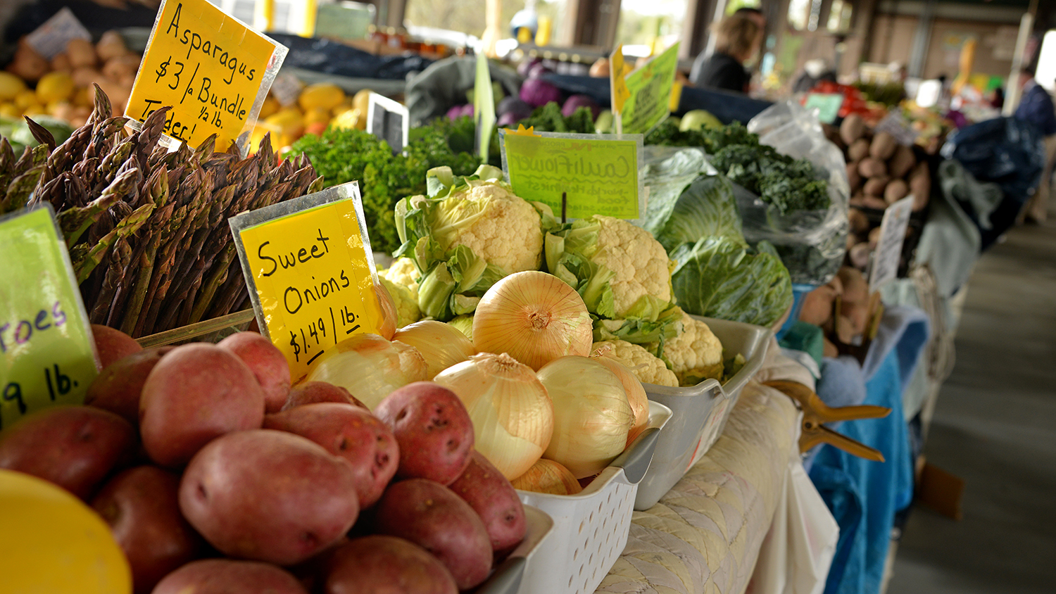 tables of fresh produce