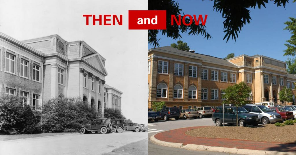 Patterson Hall then and now.