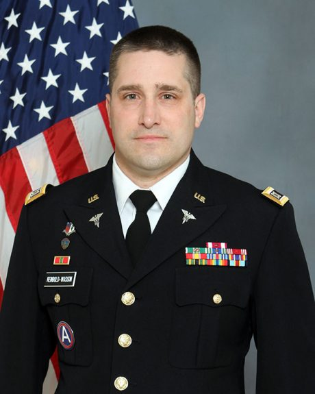 Portrait of U.S. Army Major Drew Reinbold-Wasson, a CALS Ph.D. candidate