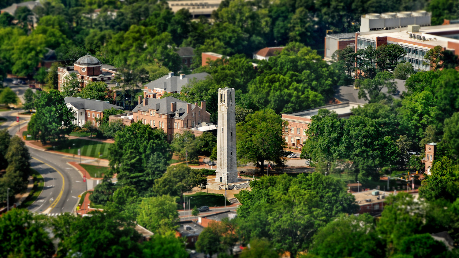 A view of NC State's campus from the air.
