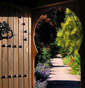 Photo of trees and flowers through a door way.