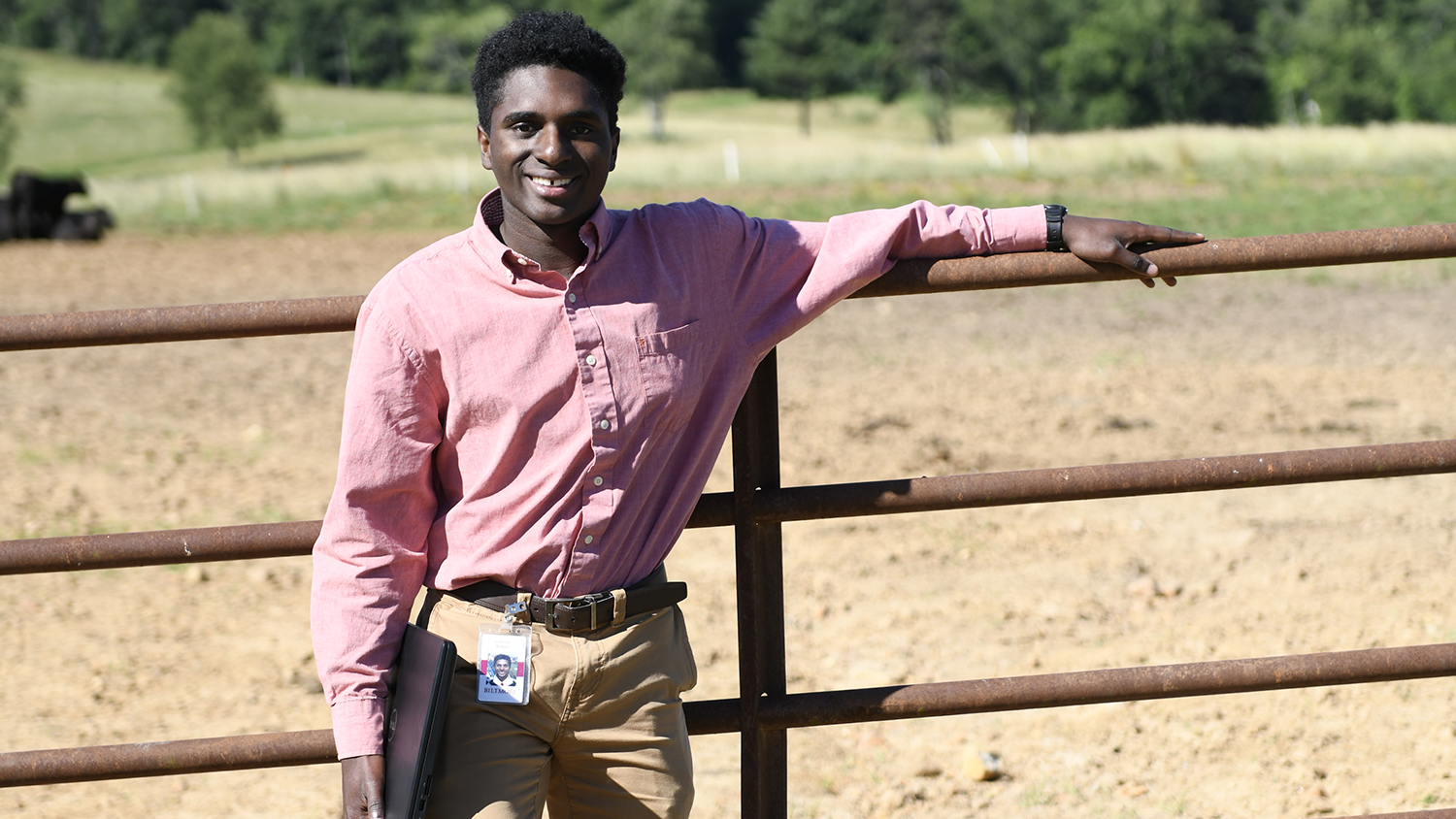 Student at a cattle farm