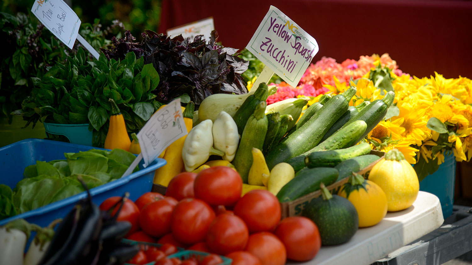 Produce for sale at a farmers market