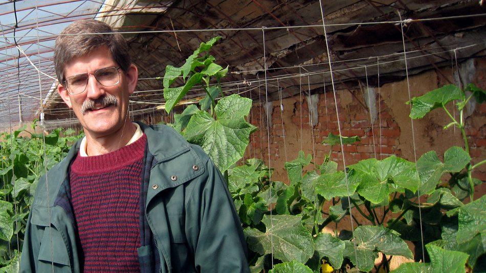 A man in a garden setting