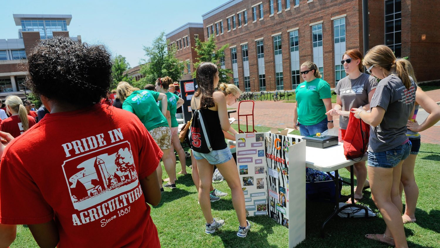 Students check out poster board displays at large gathering on campus green.