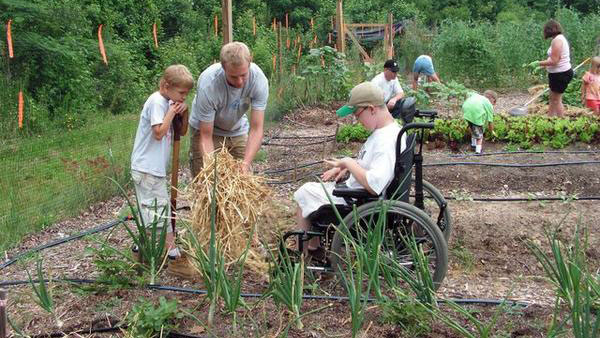 People in a community garden