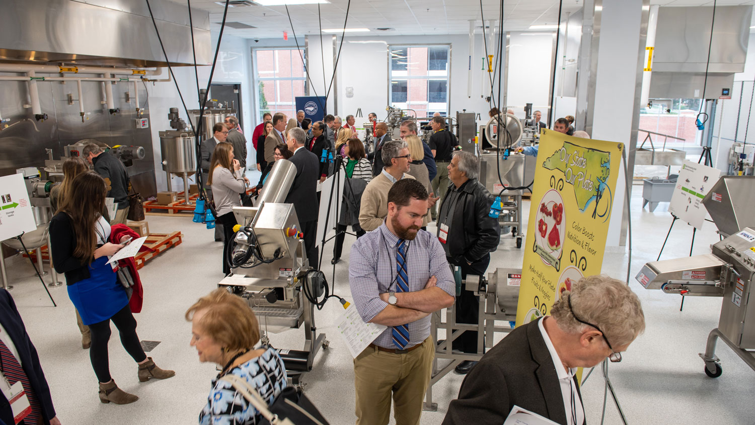 A group of people inside the new NC Food Innovation Lab in Kannapolis, North Carolina