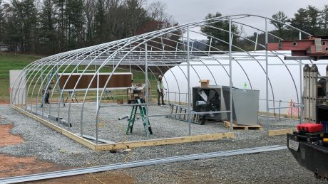 The new greenhouse at Mountain Horticultural Crops Research and Extension Center while being constructed. Just a metal frame.
