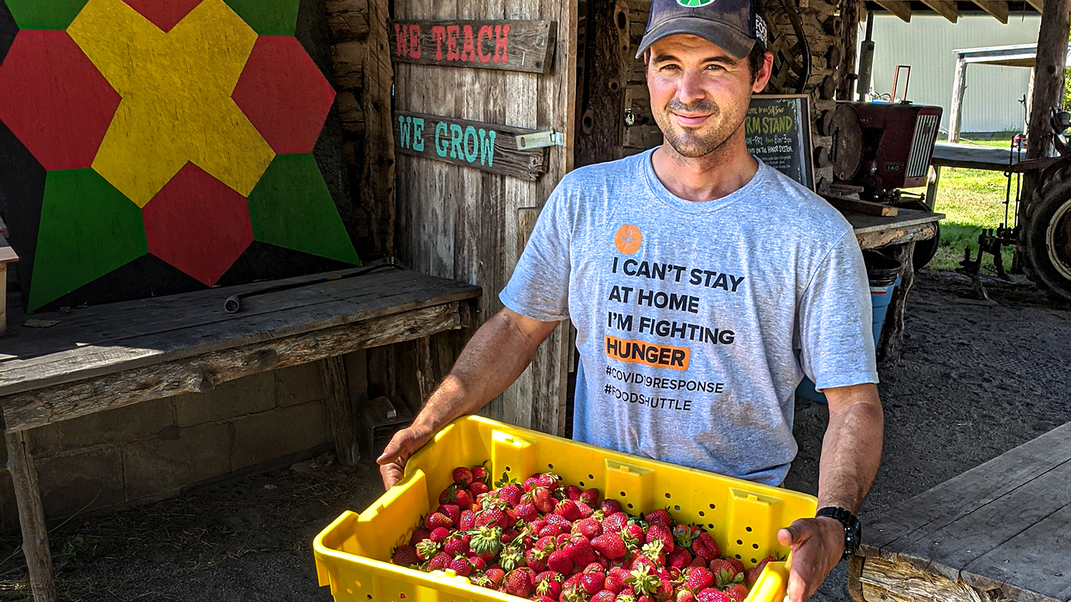 Man near a farm structure holds strawberries filling a large plastic container