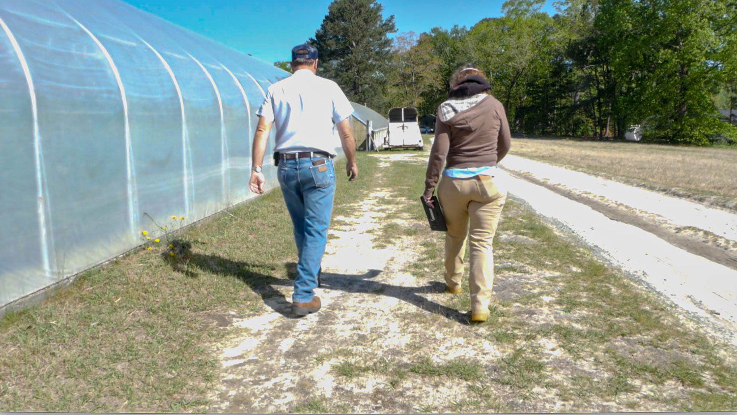 Two people walking on a farm