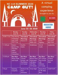 N.C. 4-H virtual camp calendar