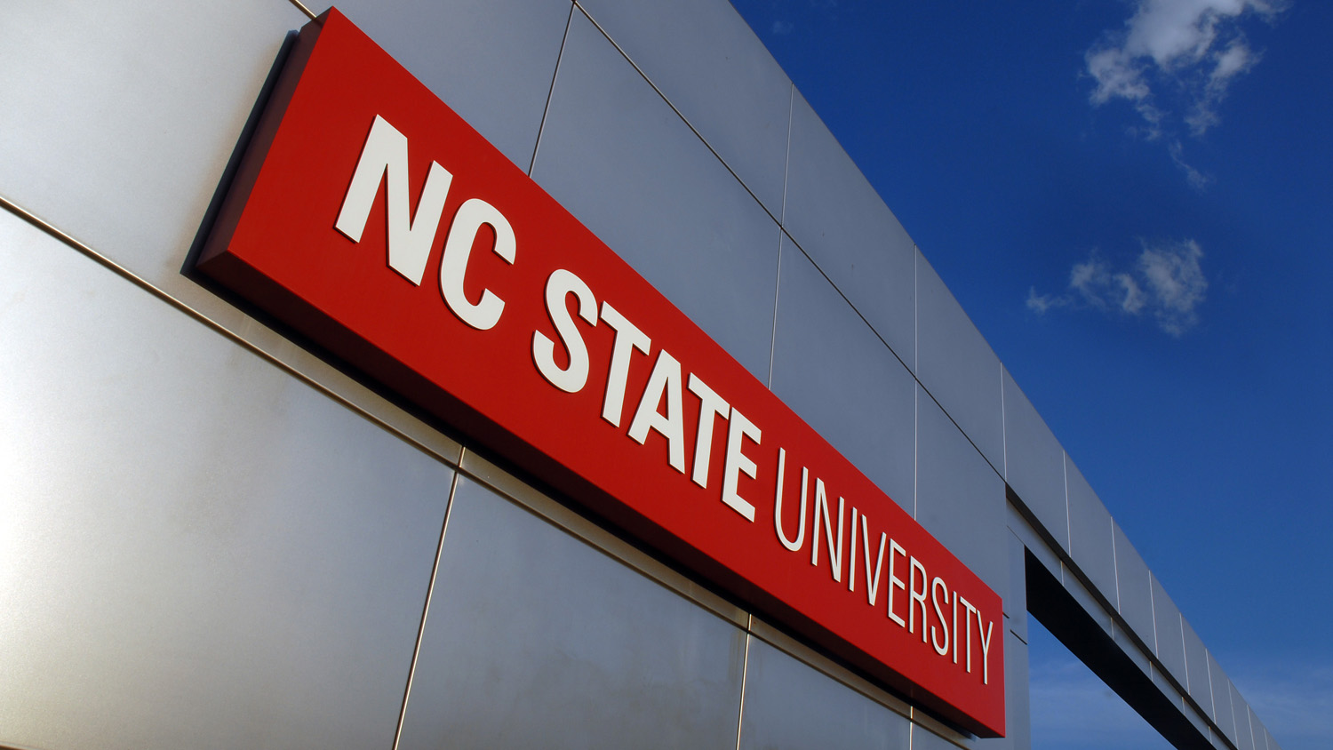 NC State University sign on metal background