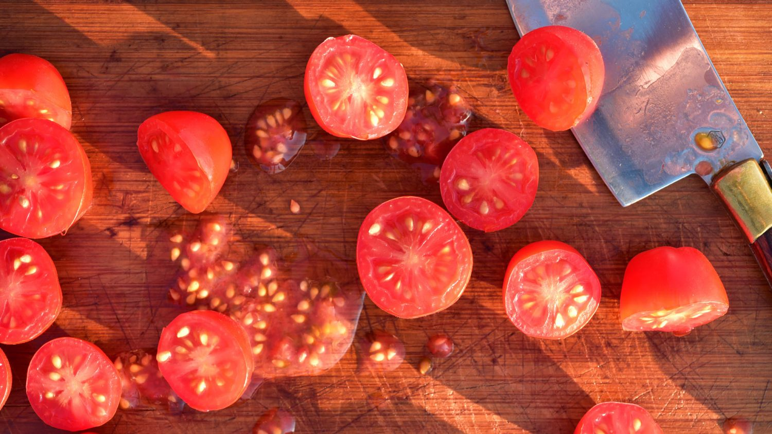 Overhead view of grape tomatoes