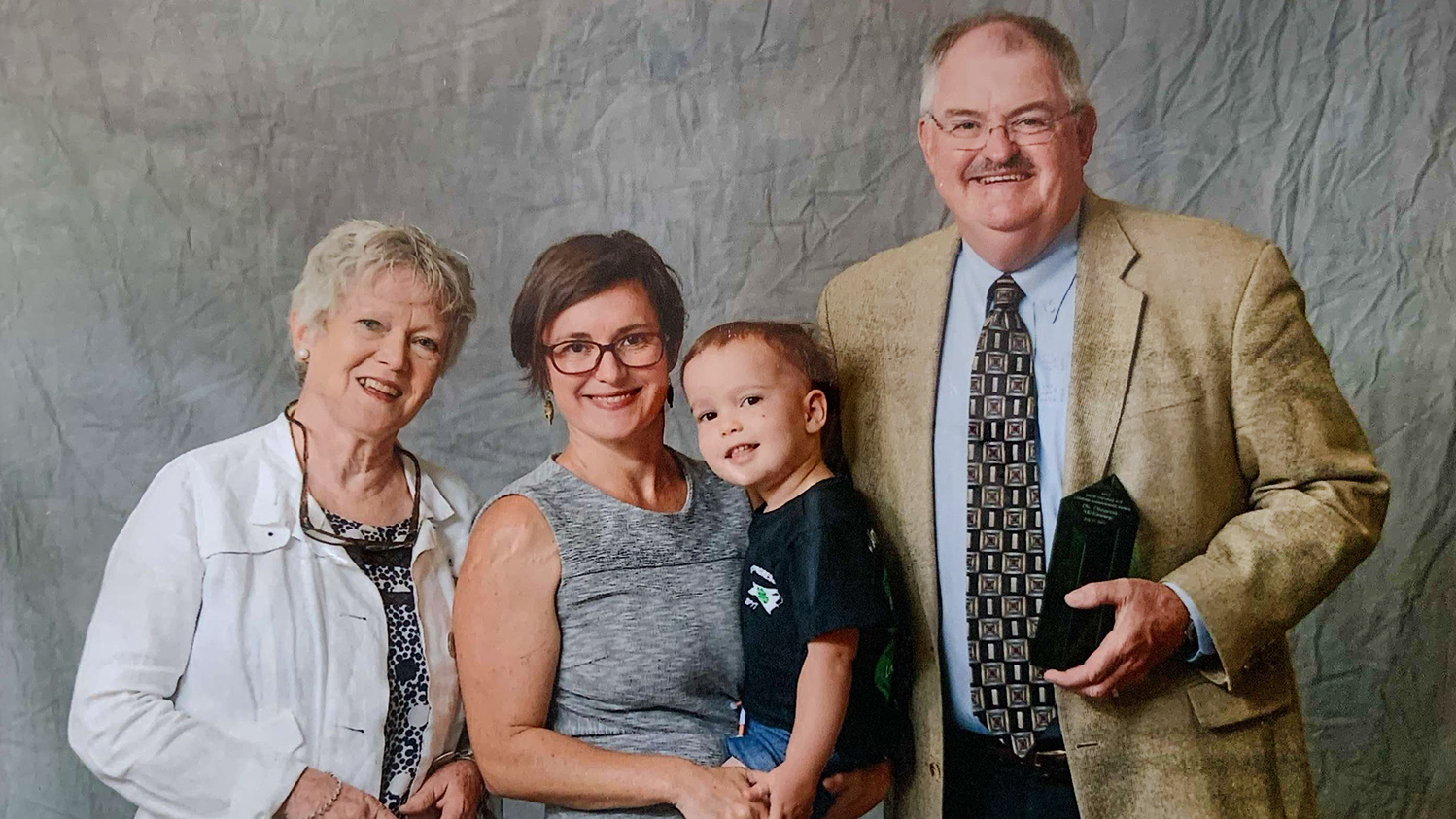Thearon McKinney pictured with his family
