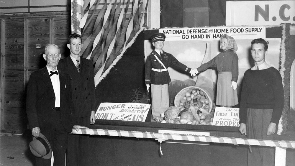 A winning wartime fair display on national defense and the home food supply that horticulture students Von Harvey Underwood and J.E. Brewer created