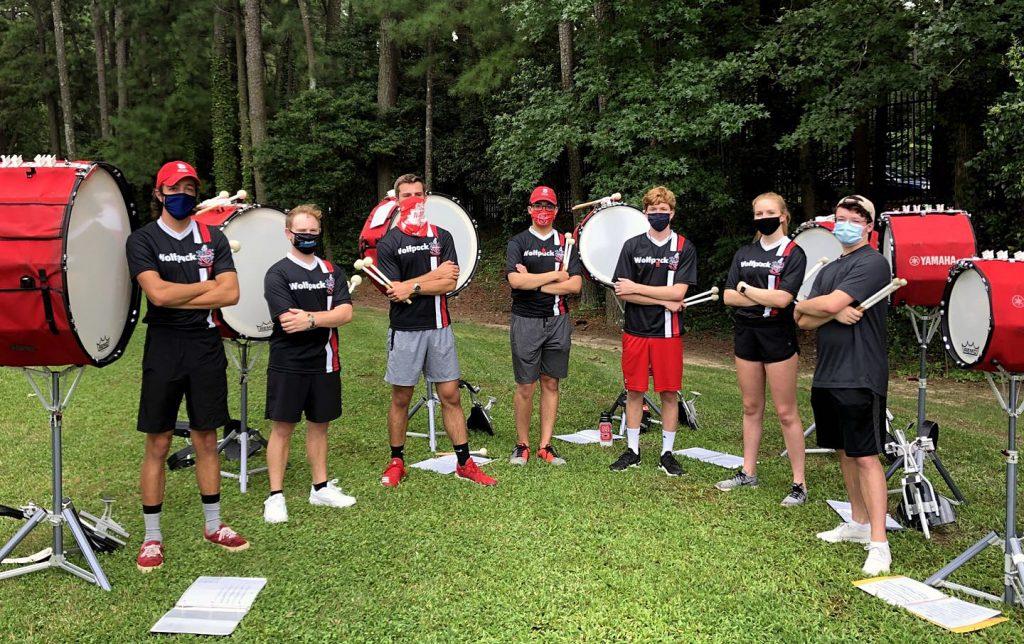Drumline members rehearse in masks