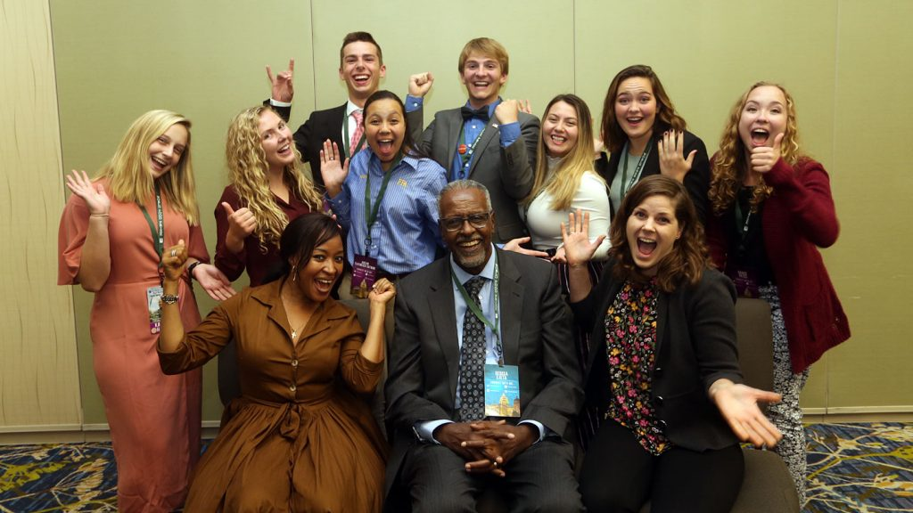 Andrew Berley with participants at the Global Youth Institute