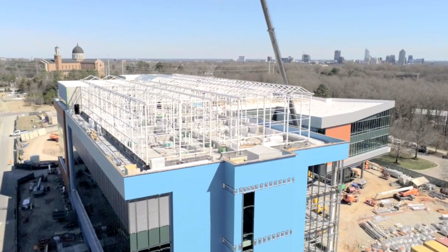 Construction progress of the N.C. PSI building