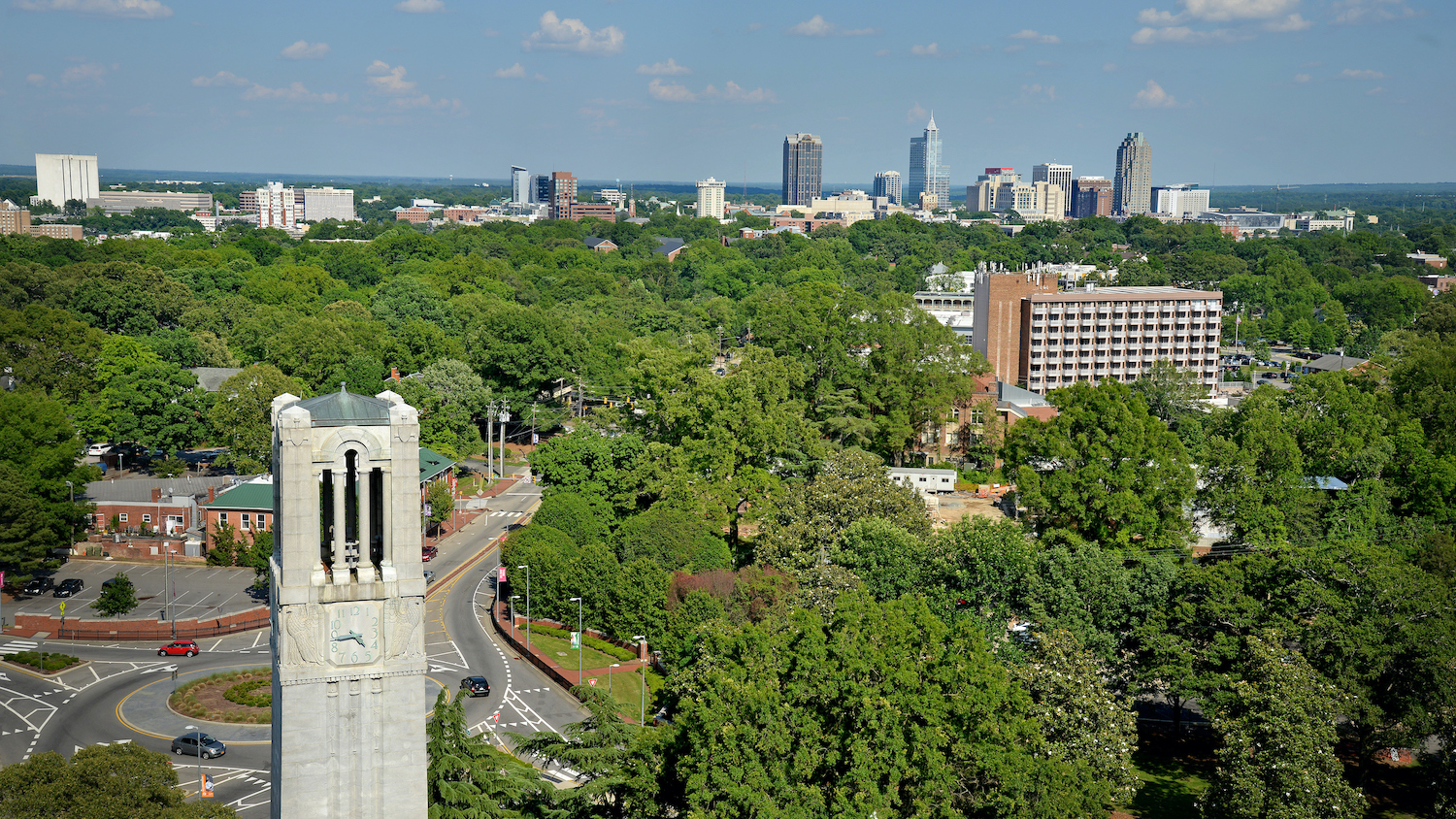 Overview of NC State's campus including part of the Belltower.
